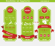 Merry Christmas coupons with ribbons Royalty Free Stock Photography