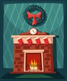 Merry Christmas. Fireplace and tree with decorations. Cartoon vector illustration. Merry Christmas. Cozy interior with fireplace. Cartoon vector illustration Royalty Free Stock Photography