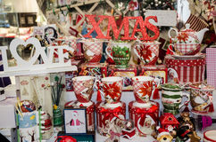 Merry Christmas craftsmanship. Merry Christmas cups and toys on a beautiful display Stock Photos