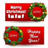 Merry Christmas creative banners set Stock Photography