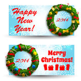 Merry Christmas creative banners set Stock Photo
