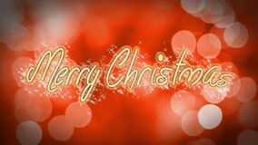 Merry Christmas, creative congratulation message on romantic red background. Stock footage stock footage