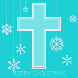 Merry Christmas with cross and snowflakes Stock Photography