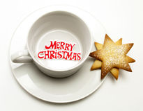 Merry Christmas Cup and Saucer Stock Photography