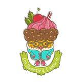 Merry Christmas Cupcake character Stock Photo