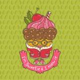 Merry Christmas Cupcake character Stock Image