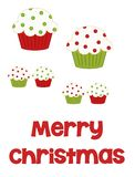 Merry Christmas Cupcakes. Red and green polka dot illustrated cupcakes in various sizes with the words Merry Christmas along the bottom to be used in crafting Royalty Free Stock Images