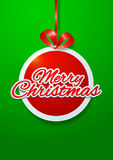Merry Christmas Cut Paper on Green Background Royalty Free Stock Image