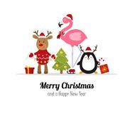 Merry Christmas. Cute Christmas animals. Reindeer, flamingo and penguin. Isolated Vector. Illustration stock illustration