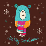 Merry Christmas - cute bear with lettering Stock Photography