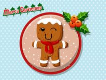 Merry Christmas cute cartoon Gingerbread man cookies on a colorf. Ul background. Happy New Year and decoration element. vector illustration Royalty Free Stock Images