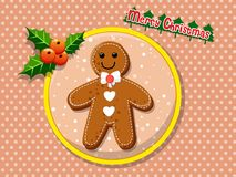 Merry Christmas cute cartoon Gingerbread man cookies on a colorf. Ul background. Happy New Year and decoration element. vector illustration Royalty Free Stock Photo