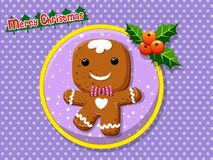 Merry Christmas cute cartoon Gingerbread man cookies on a colorf. Ul background. Happy New Year and decoration element. vector illustration Royalty Free Stock Photography