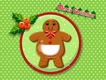 Merry Christmas cute cartoon Gingerbread man cookies on a colorf. Ul background. Happy New Year and decoration element. vector illustration Stock Photos