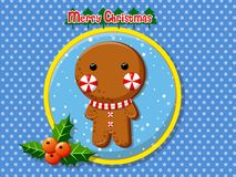 Merry Christmas cute cartoon Gingerbread man cookies. Merry Christmas cute cartoon Gingerbread man cookies on a colorful background. Happy New Year and Royalty Free Stock Photography