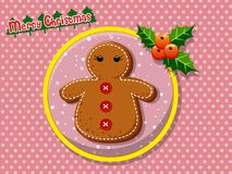 Merry Christmas cute cartoon Gingerbread man cookies. On a colorful background. Happy New Year and decoration element. vector illustration Stock Photo