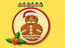 Merry Christmas cute cartoon Gingerbread man cookies. On a colorful background. Happy New Year and decoration element. vector illustration Stock Photos