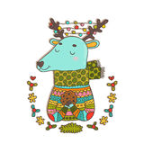 Merry Christmas cute cartoon hand drawn deer Stock Images