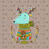 Merry Christmas cute cartoon hand drawn deer Stock Photography