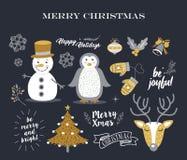 Merry Christmas cute decoration elements retro set Stock Images