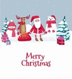 Merry Christmas cute greeting card with winter characters. Vector illustration stock illustration