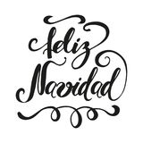 Merry Christmas text on vintage greeting card design template in black color. Inscription in Spanish. Merry Christmas. Cute hand drawn Christmas sign with in Royalty Free Stock Images