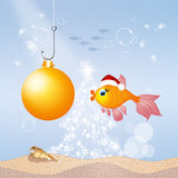 Merry Christmas. Cute illustration of red fish celebrate Christmas Stock Images