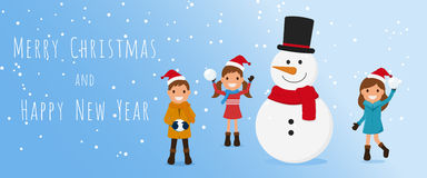 Merry Christmas. Cute kids and snowman playing snowball in winter season. Christmas and Happy New Year Banner. Cartoon Vector Illustration stock illustration