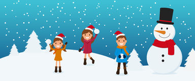Merry Christmas. Cute kids and snowman playing snowball in winter season. Christmas and Happy New Year Banner. Cartoon Vector Illustration Stock Image