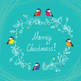Merry Christmas cute postcard with birds Stock Photo