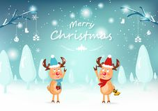 Merry Christmas, cute reindeer character, greeting card, snow fa vector illustration