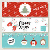 Merry Christmas cute retro banner collection Stock Photo