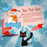 Merry Christmas cute retro banner on the craft. Paper texture with cat and snowman Royalty Free Stock Photo