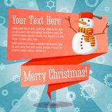 Merry Christmas cute retro banner on the craft. Paper texture with snowman Royalty Free Stock Images