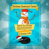 Merry Christmas cute retro contest invitation or. Banner with snowman and cat in santa's hat Royalty Free Stock Photos