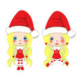 Merry Christmas with Cute Santa Girl Jumping. Pompom Hat and Outfit Santa Claus Costume. Beautiful Young Woman Vector Stock Images