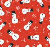 Merry Christmas cute snowman seamless pattern. Merry Christmas seamless pattern background, cute snowman holiday decoration in retro style. EPS10 vector Stock Photos