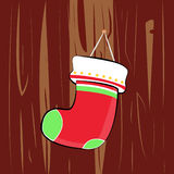 Merry Christmas Cute Star Red Green Stripe Christmas Socks� Royalty Free Stock Image