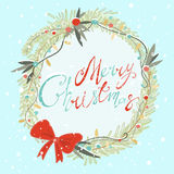 Merry christmas. Cute winter wreath with pine, branches, beads, berries and two bullfinch with hand-drawn letters merry christmas Royalty Free Stock Image