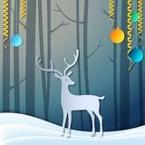 Merry Christmas 3d abstract paper cut illustration of deer in forest. Vector Greeting card. Origami winter season. Happy New Year. Stock Photo