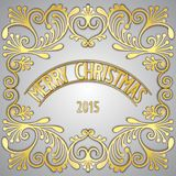 Merry Christmas 3D golden signboard Stock Photos