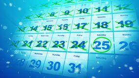 Christmas calendar dates and snowflakes. Merry Christmas 3d illustration of the calendar placed diagonally with double crossed dates and white snowflakes. The Stock Photos