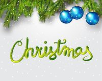 Merry Christmas 3d lettering . Xmas placard cover design. Vector illustration Christmas theme with Christmas tree and Royalty Free Stock Image