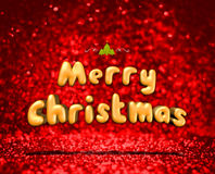 Merry Christmas 3d rendering at red glitter bokeh background, ho. Liday greeting card Stock Photos