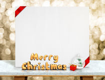 Merry Christmas 3d rendering with xmas ball in front of  white c Royalty Free Stock Images
