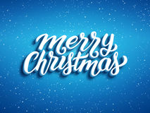 Merry Christmas 3D text on blue background Stock Photography