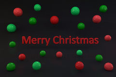 Merry christmas 3d text with color balls Stock Image
