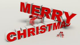 Merry Christmas 3d text,gift high resolution Royalty Free Stock Photo