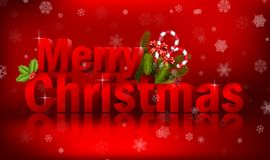 Merry christmas 3D text on the red background. Christmas concept stock photo
