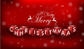 Merry Christmas 3d text on red background royalty free stock photo